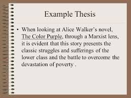 critical lens essay organization introduction lead in discussion  example thesis when looking at alice walkers novel the color purple through a marxist