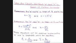 van der waal s constant a and b van der waal s equation part 3