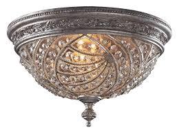 elk lighting 6232 4 crystal renaissance flush mount ceiling fixture
