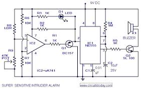 sensitive intruder alarm circuit diagram using 555 ic and 741 ic intruder alarm circuit intruder alarm circuit diagram