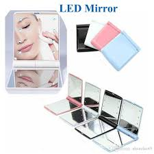makeup mirror led light mirror desktop portable compact 8 led lights lighted travel make up mirror flip cover mirror oth312 dressing table mirrors lighted