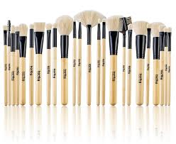 amazon studio quality jet set bamboo 24 piece premium synthetic cosmetic makeup brush brushes set kit with pouch case bag jet black beauty