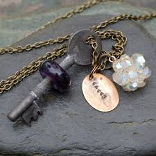 custom made skeleton key necklace glass beaded boro lampwork pendant jewelry amethyst purple sassy