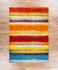 challenge red and teal area rug puglia multi stripe orange yellow blue modern geometric