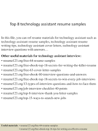 top8technologyassistantresumesamples 150513000111 lva1 app6891 thumbnail 4jpgcb1431475313 sample technology resume