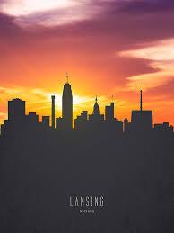 lansing painting lansing michigan sunset skyline 01 by aged pixel