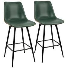 black and green vintage faux leather counter stool set of 2