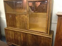 Vintage Walnut 2 Pc Bar Cabinet Art Deco Ebay