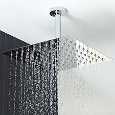 infrared light fixture for bathroom. koko brand rain16 16-inch solid square ultra thin rain shower head, polished stainless infrared light fixture for bathroom