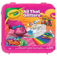 crayola trolls all that glitters 50 piece sparkleing art set by crayola