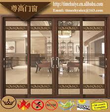modern aluminium 2 track sliding door with decorative glass panel