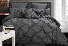 super king size charcoal diamond pintuck quilt cover set 3pcs