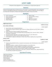 Security Guard Cv Template Cv Samples Examples