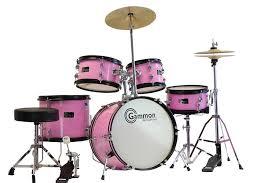com gammon 5 piece junior starter drum kit with cymbals hardware sticks throne pink al instruments