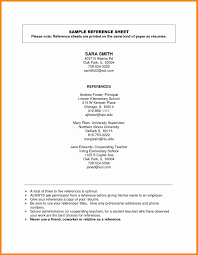Sample Reference List Resume Reference List Format Resume For