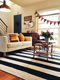 black white rug black and white striped rug living room eclectic with regarding inspirations black and