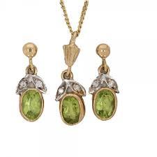 peridot diamond pendant earrings