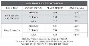 Seating Chart Ticket Prices Town Hall Arts Center