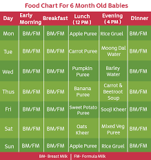 6 Month Diet Chart 6 Months Old Baby Food Chart With Time And Recipe Food Menu