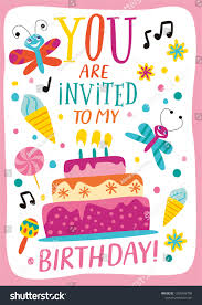 Design Own Party Invitations Birthday Party Template Cake Childish Style Stock Vector