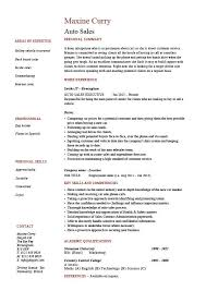 Auto Sales Resume Selling Marketing Example Sample Template