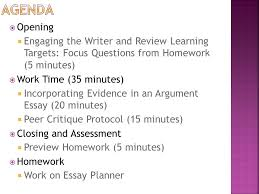 module a unit lesson writing and argument essay peer  2 agenda