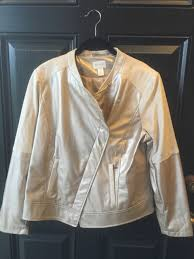 new chico s champagne faux leather suede moto inspired jacket 3 xl 16