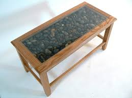glass topped coffee table with orkney pebbles oak 355 00
