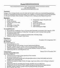 Bar Manager Resume Sample Manager Resumes Livecareer