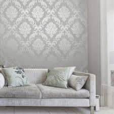 Henderson Interiors Chelsea Glitter Damask Wallpaper Soft Grey / Silver -  Wallpaper from I love wallpaper UK