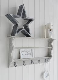 Distressed White Coat Rack Grey washed coat rack with shelves for Hall The White Lighthouse 11