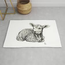 baby animals lamb rug