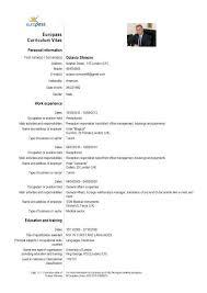Europass Cv Template German Sample Example Curriculum Vitae Resume