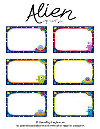 free printable alien name tags the template can also be used for creating items like