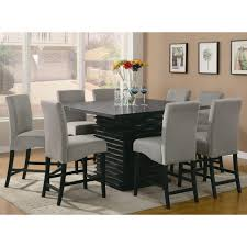 black and white dining table set: square black painted oak wood dining table with white velvet parsons chairs endearing black and