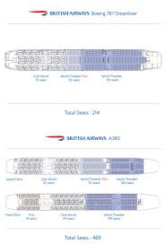 british airways released seat maps for their boeing 787 dreamliner and airbus