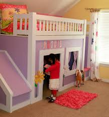 Image of Purple Kids Bunk Bed with Slide and Stairs