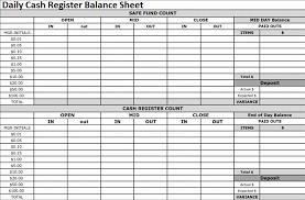 Daily Cash Register Balance Sheet Excel Format