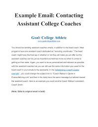 example of email example email contacting assistant college coaches