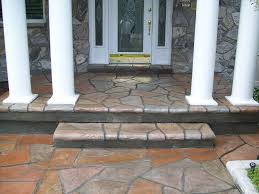 Decorations:Popular Stacked Stone Front Doors And Veranda As Concrete Porch  Beautiful and Creative Front