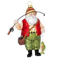 Fishing Santa With Creel Glass Ornament