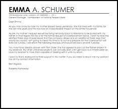 Bereavement Leave Letter Example Letter Samples Templates