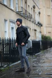 allsaints cargo biker leather jacket in the rain