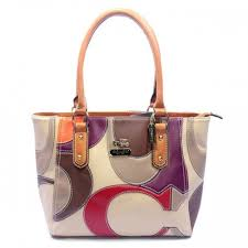 Coach Big Logo Medium Orange Ivory Satchels DXZ