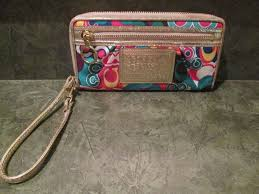 COACH POPPY WRISTLET WALLET LARGE RED YELLOW BLUE GREEN GOLD AUTH EUC  Coach   ZIPAROUND