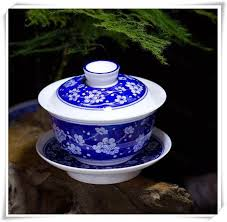 ceramic teacup and saucer with lid hand painted porcelain gift craft chinese gaiwan tea cup