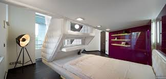 Modern Retro Bedroom Split Level Plush Futuristic Retro Bedroom In White With Red