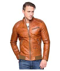 mens tan reaver biker leather leader chastang