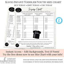 Kavio Size Chart Editable Size Chart Diy Chart Instant Download Chart Tshirt Chart T Shirt Size Chart Infants Toddlers Youth