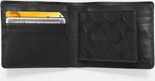 coach compact id wallet in signature crossgrain leather in black for men lyst